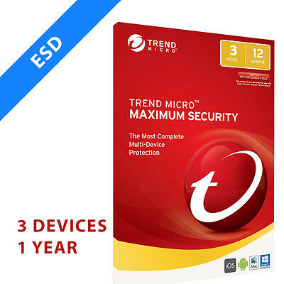 Trend Micro Maximum Security 2017 3 Devices 1 year