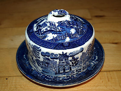 Antique Cheese dish cover blue and white very old