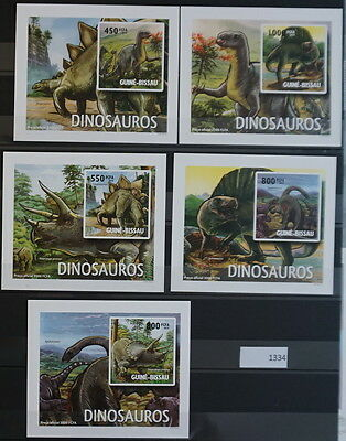 S0 1334 Dinosaurs Guinea-Bissau MNH 2010 5 Delux Imperforated Blocks
