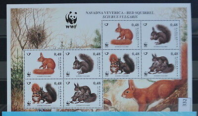 S0 0332 WWF Animals Slovenia MNH 2007 Red Squirrel