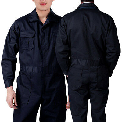 Black BOILER SUIT OVERALL COVERALL Mechanic college work MENS New Sale UK BAH CY