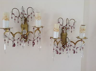 Pair Of Antique French Metal And Crystal Wall Lights
