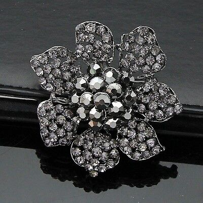 Stunning Grey Black Crystal Antique Silver Plated Vintage Style Brooch