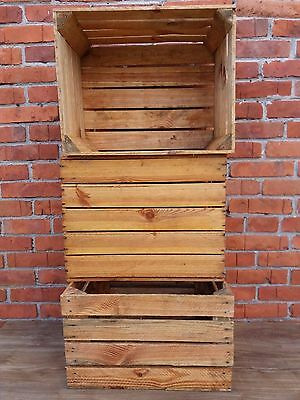 3 vintage strong & solid wooden apple crates boxes home decor - Cleaned