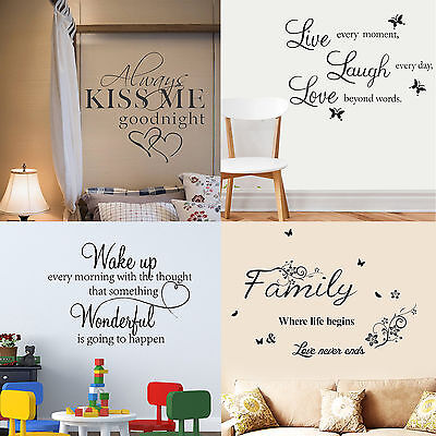 Wall Butterfly Stickers Home Art Love/Family/Kiss/Wake Up Decal Vinyl Removable