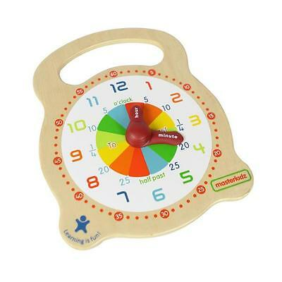 NEW Masterkidz Wooden Teaching Clock - Learn to Tell The Time