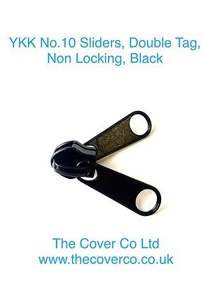 YKK No.10 Sliders, Double Tag, Non Locking, Black / Silver Zip Toggle Boat Cover