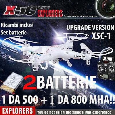 Drone  Syma X5C-1 2 Batterie Telecamera Hd Upgrade Version Luci Led