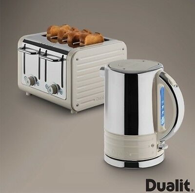 Dualit Architect Kettle and Toaster Set Oyster White Kitchen Appliances