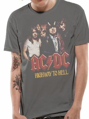 AC/DC T Shirt Highway To Hell Vintage Officially Licensed Mens Grey Rock Merch