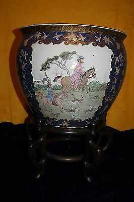 Monumental Chinese Fish Bowl Blue & White Planter With European Scenes & Stand