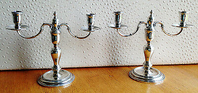 Solid Silver pair of Candelabra 1968