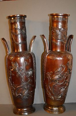 Pair Large (50cm) Antique 19th Century Chinese Bronze Two Handled Vases,c1870