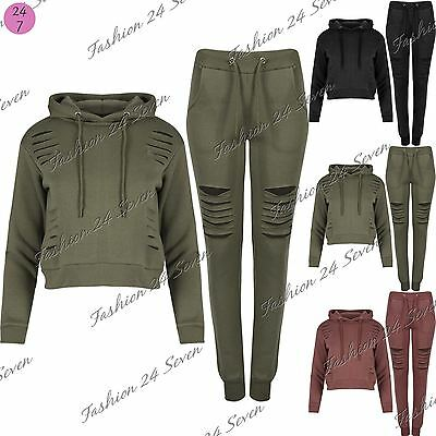 Womens Girls Cropped Hoodie Laser Cut Out Trouser Jogging Long Sleeve Tracksuit