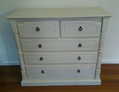 White Shabby Chic, French Provincial Solid Timber Tall Boy Chest of Drawers