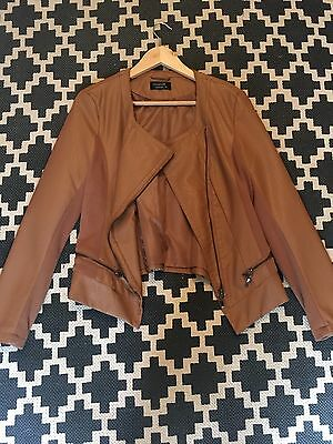 Women's Brown Leather Jacket - Crossroads - Size 12