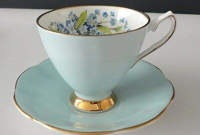 Clare Blue Tea cup saucer English vintage china High Tea Party mis matched