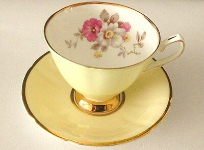 Clare Yellow Tea cup saucer English vintage china High Tea Party mis matched