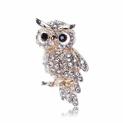 Beautiful Gold Plated Clear Crystal Owl Statement Brooch