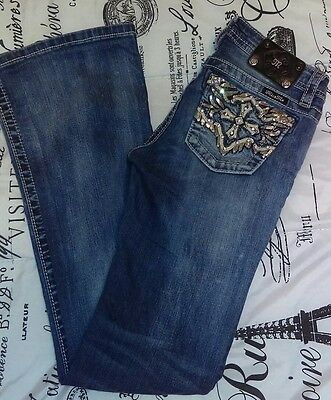 MISS ME GIRLS Size 16 Jeans  EMBELLISHED  BOOTCUT JK5937B DENIM BLUE