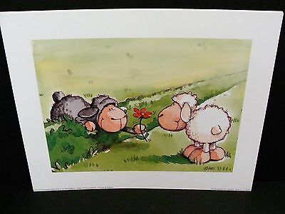 Pro Art prints  Childs print of two sheep and a flower..by Nici...30cm x 24cm