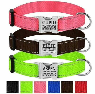 Personalized Nylon Dog Collar Custom Engraved ID Tag Safety Reflective Collars