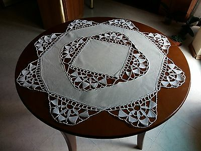 """Antique Vintage Handmade Ivory Linen Round Tablecloth Cutwork Crochet Lace 33"""""""