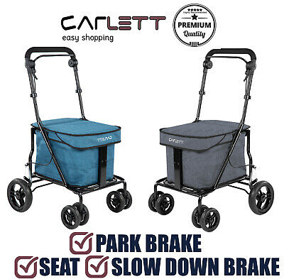 Carlett Lett700 Walk & Rest Folding 6 Wheel Shopping Trolley with Seat & Brakes
