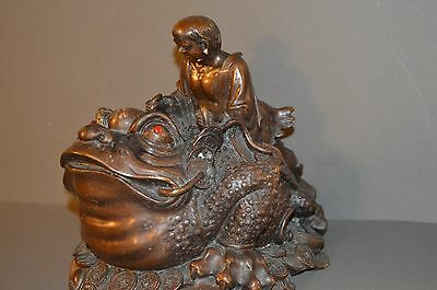 Rare Large Antique 19th Century Chinese Bronze of A Man Astride A Toad ,c1890