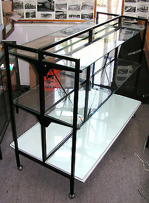 GIPPSLAND 1.5m shop display gondola glass shelves. Repainted and on castors. RMS