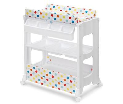 New Baby Change Table Bath Nursery Changer Storage Shelf & Trays Steel Frame