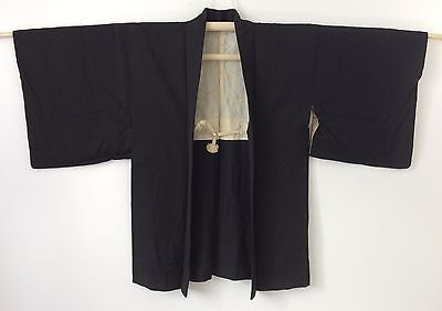 Authentic Japanese black silk haori jacket for kimono, with himo, good c.(K1466)