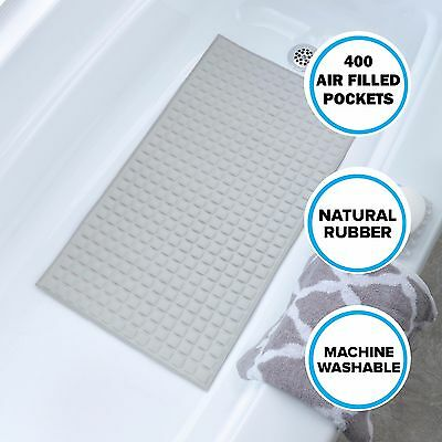 Soft Cushioned Rubber Safety Suction Cup Bathtub Mat in Gray by SlipX Solutions