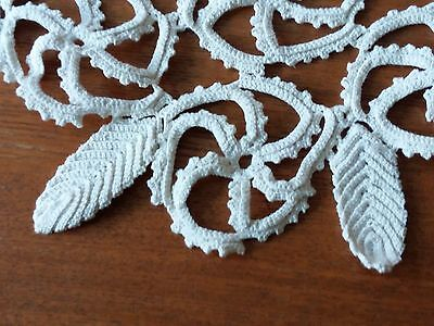 ANTIQUE Vintage Handmade White Cotton Crochet Lace Rhomboid Tablecloth100%Cotton