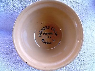 Vintage Advertising Farmers Co-Op Waukee Ia Phone 102 Stoneware Mixing Bowl