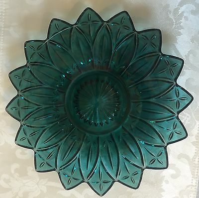 Antique Teal Green Crystal Glass Plate - Iridescent! Georgeous Piece