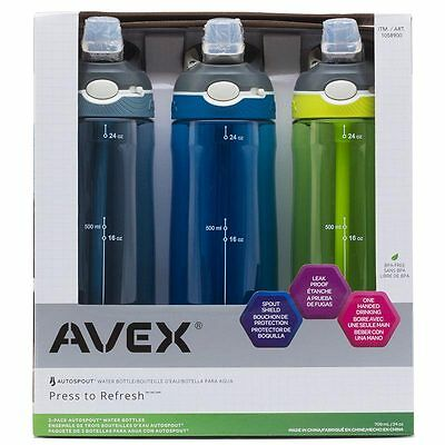 New 2017 AVEX Autospout Water Bottles 709ml 3 Pack