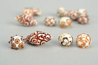 Lampwork Glass Beads With Ornament 13 Items