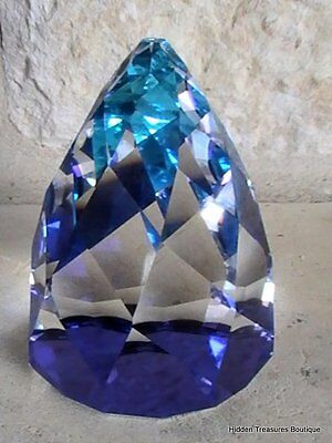 Swarovski Crystal Bermuda Blue Rio Cone Faceted Paperweight Purple Teal Clear