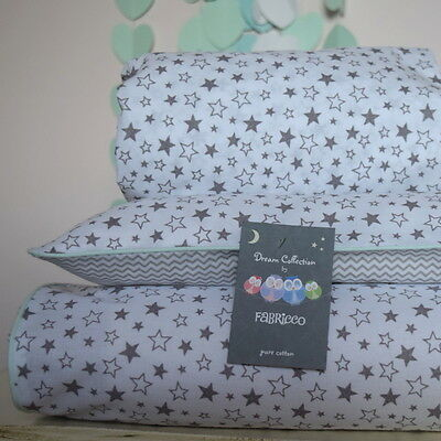 100%COTTON Cot Bed Duvet Cover Set & Fitted Sheet Grey Mini Chevron Stars Mint