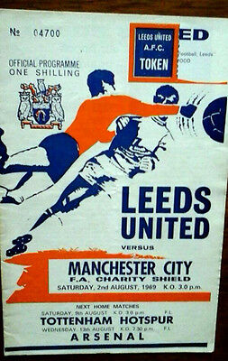 Leeds V Man City 2/8/1969 Charity Shield Token Has Been Neatly Removed