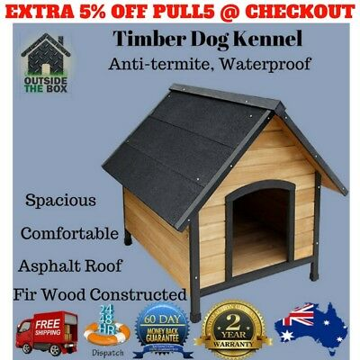 Pet Dog Kennel House Extra Large Timber Wooden Log Cabin Wood Indoor Outdoor New