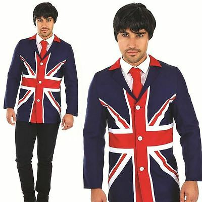 60s Mod Jacket Mens Fancy Dress British Flag Union Jack Adult Costume Blazer New