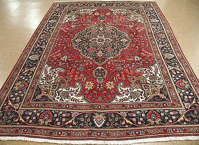PERSIAN TABRIZ Hand Knotted Wool RED NAVY Floral Oriental Rug Carpet 7 x 10