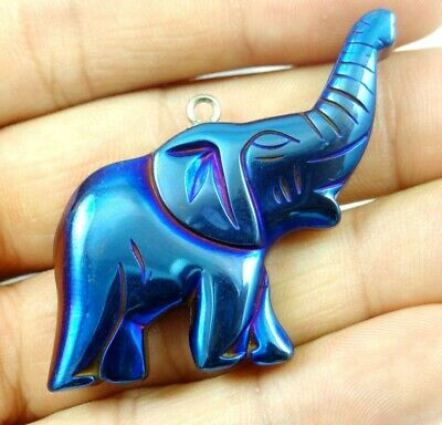 Titanium Hematite Carved Elephant Gem pendant beads necklace Jewelry making D12