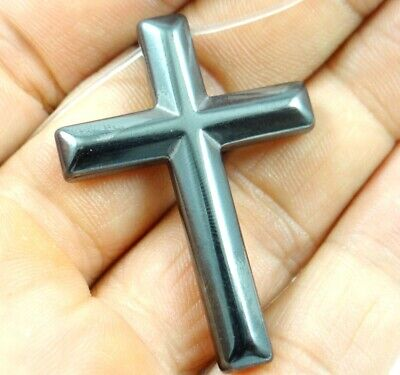 Hematite Carved cross Gemstone pendant beads necklace Jewelry making D15