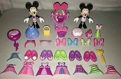 Lot of 30 Minnie Mouse Bowtique Snap N Style Clothes Dolls Shoes Disney Birthday