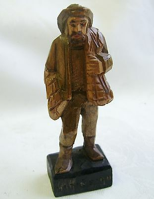 Antique Hand Carved Black Forest Wooden Figure of a man.