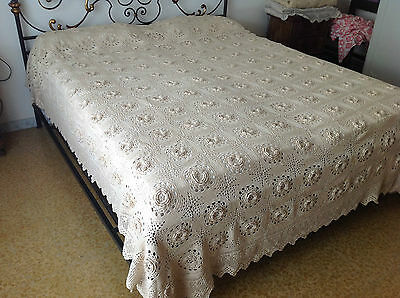 Vintage Antique Bedspread Coverlet crochet bed cover lace handmade lace huge 3D
