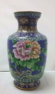 """Blue Chinese Floral Cloisonne Over Brass Vase Pair of Red Birds 13""""Asian Orient"""